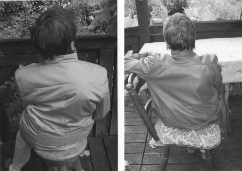 Sitting patient and her torso rotations.